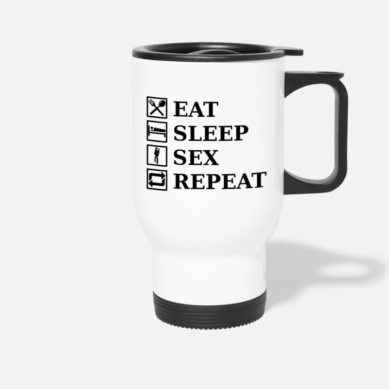 Comic Mugs & Drinkware - EAT SLEEP SEX REPEAT - Travel Mug white