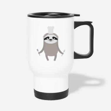 Cuisine Sloth cook chef with fork and spoon - Travel Mug