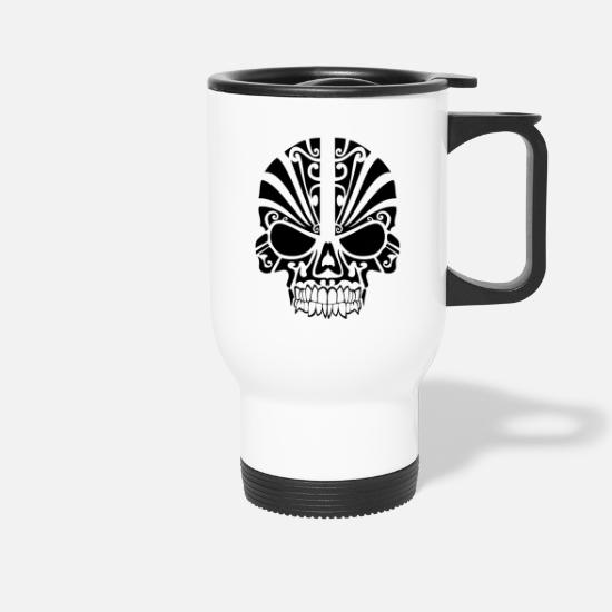 Tribal Tassen & Becher - Totenkopf Tribal - Thermobecher Weiß