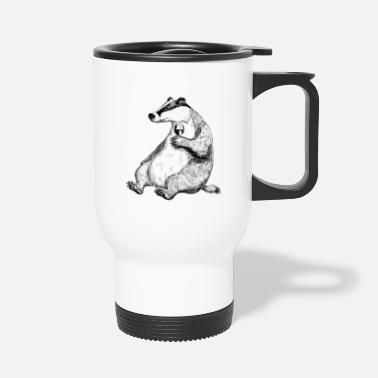Stuff Badger with Wine. - Travel Mug