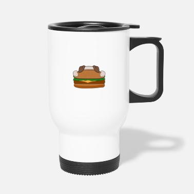 Fast Food Dog Bulldog Pug Dog Food Hamburger Gift - Travel Mug