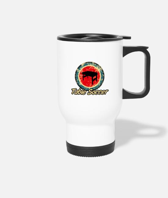 Table Soccer Mugs & Drinkware - kicker table soccer retro - Travel Mug white