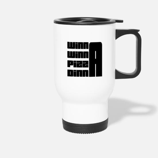Pizza Mugs & Drinkware - Winna Winna Pizza Dinna Black - Travel Mug white