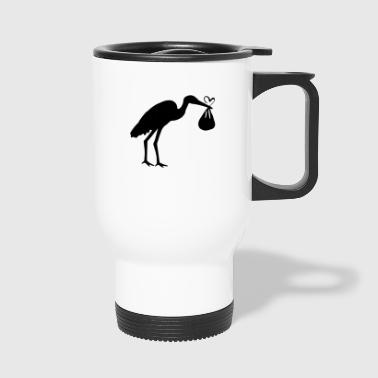 Stork with toddler and heart - Travel Mug