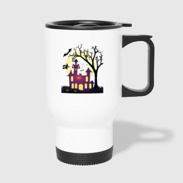Halloween t-shirt design haunted house gift - Travel Mug