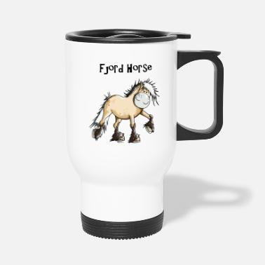 Fjord Horse Cartoon Happy Fjord Horse - Travel Mug
