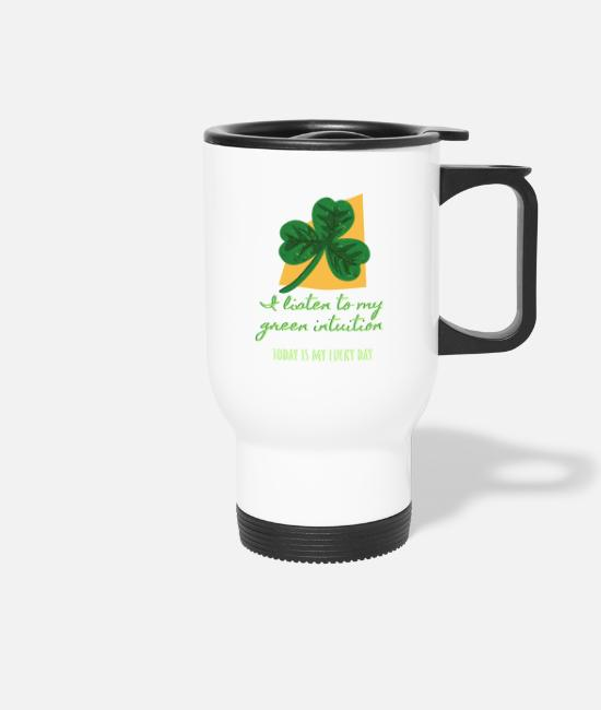 Lucky Mugs & Drinkware - I listen to my green installation with shamrock - Travel Mug white