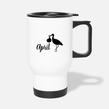Baby Bump Pregnant stork baby arrives in April - Travel Mug