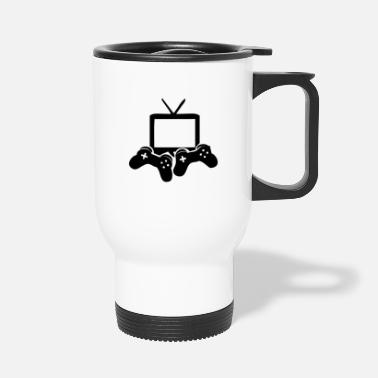 Video Video Games icon games Gamer gaming console - Travel Mug