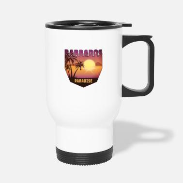 Caribbean Barbados design with palm trees and sun / gift - Travel Mug