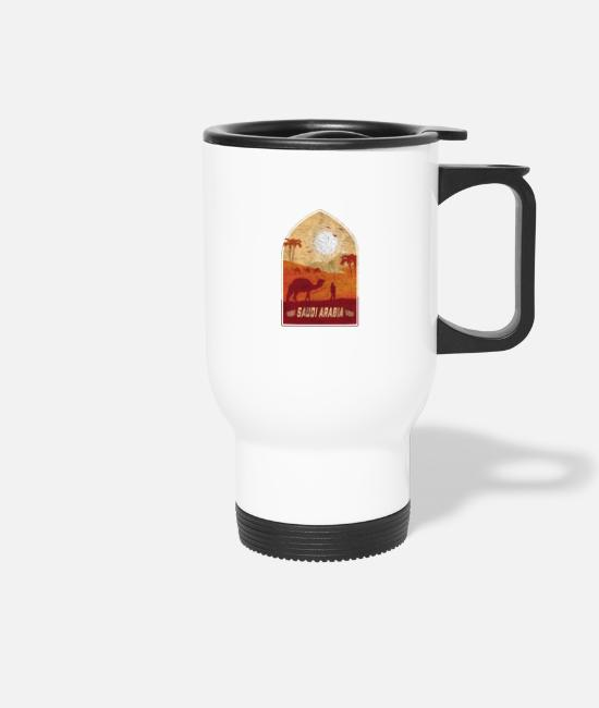 Saudi Arabia Mugs & Drinkware - Saudi Arabia vintage camel design / gift idea - Travel Mug white