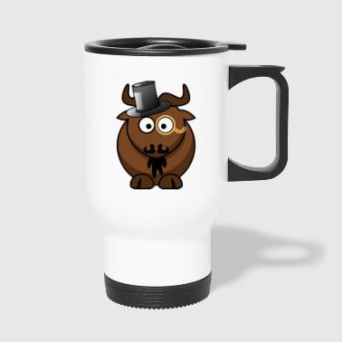 Bull, cow with monocle, mustache and cylinder - Travel Mug
