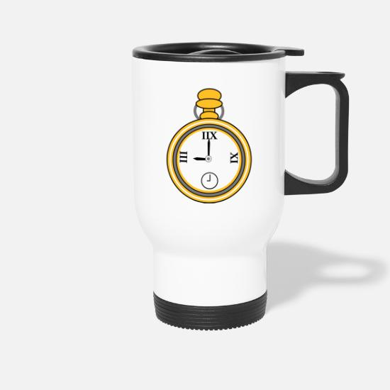 Gold Mugs & Drinkware - clock - Travel Mug white