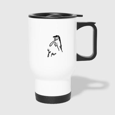 Art Textile: Sketch of an unemployed person - Travel Mug