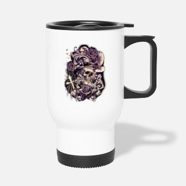 Bird Skull SKULL with Dove Cross Flowers Religious Tattoo Art - Travel Mug