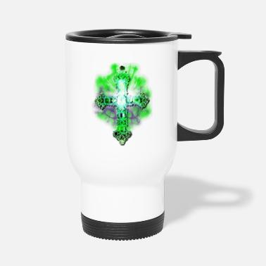 Glamour Cross Cross Glamour Gold Green Gems - Travel Mug