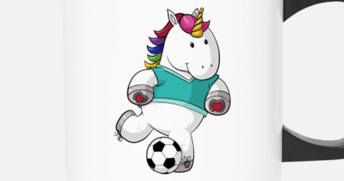 Fussball Comic Einhorn Thermobecher Spreadshirt