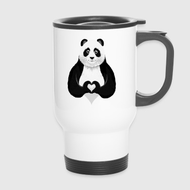 Cute Panda Heart Hand Sign - Thermobecher