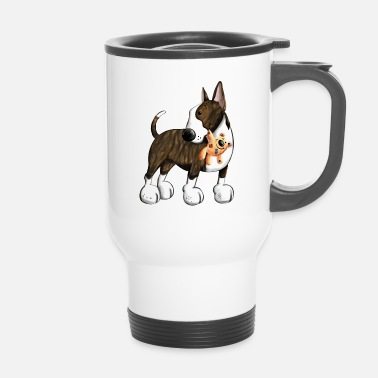 Bull Terrier Bullterrier with Teddy - Travel Mug