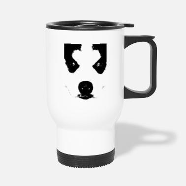 Husky Husky puppy face black and white - Travel Mug