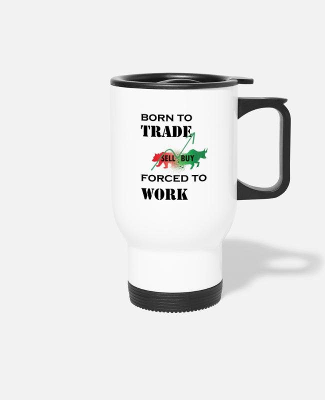 Wall Street Mugs & Drinkware - trader stock exchange - Travel Mug white