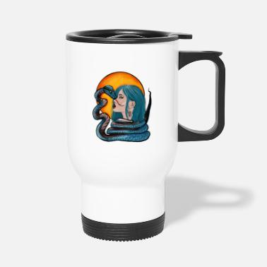 Snake Tattoo Design The Blue Haired Girl And The Snake - Travel Mug