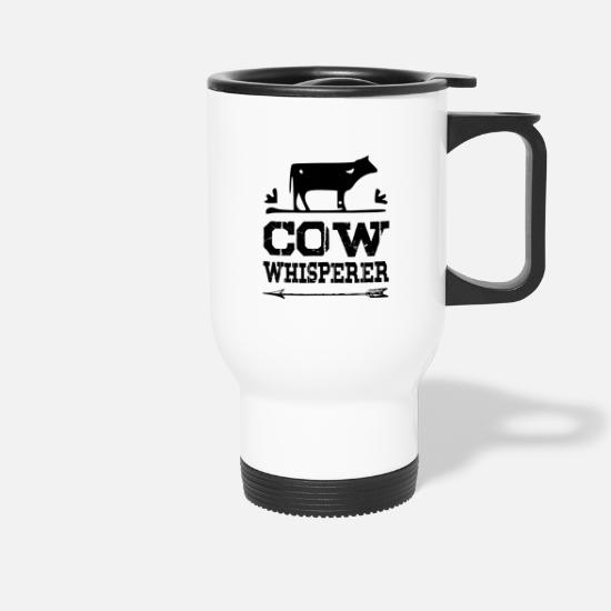 Dairy Cow Mugs & Drinkware - Cow Whisperer - black - Travel Mug white