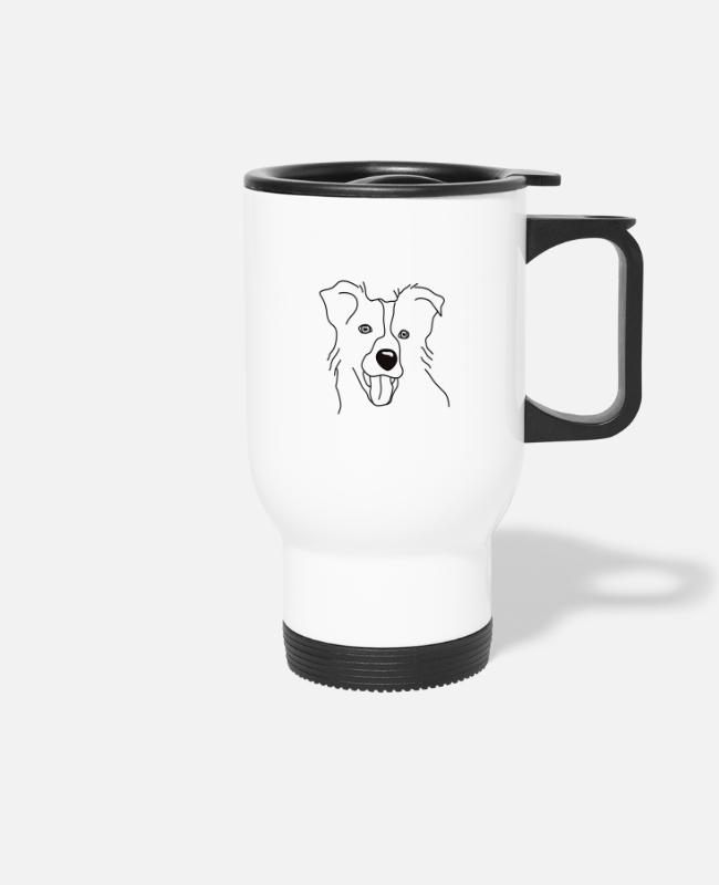 Heart Mugs & Drinkware - Border Collie TShirt Dog Shirt Dogshirt Heart Love - Travel Mug white