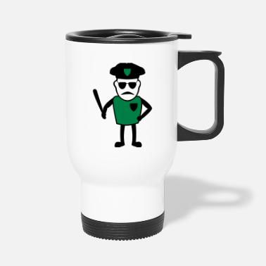 Cop Policeman with truncheon - Travel Mug