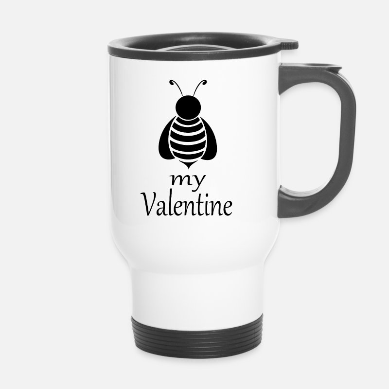 Valentine's Day Mugs & Drinkware - Bee my Valentine - Travel Mug white