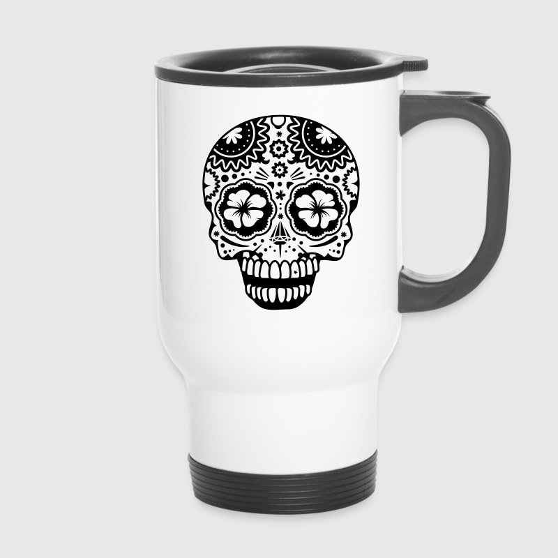 A laughing skull in the style of Sugar Skulls - Kubek termiczny