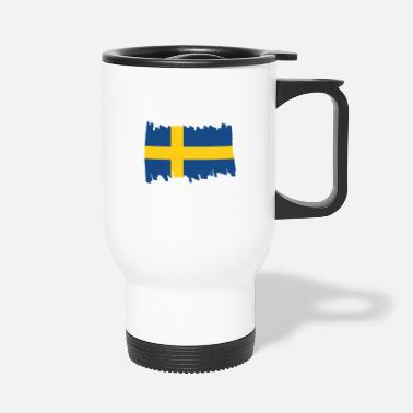 Scandinavia Sweden National Flag - brush vertical - Travel Mug
