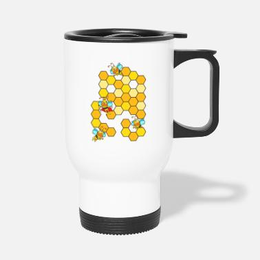 Queen Bee with bee colony and honeycomb - Travel Mug