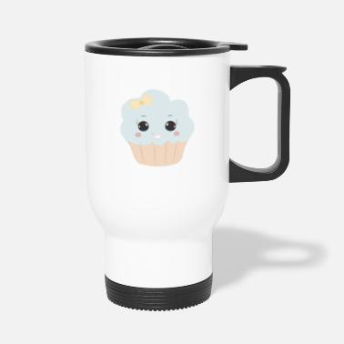 Beady Eyes Cute muffin with ribbon button eyes gift - Travel Mug