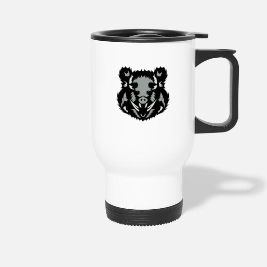 Boar Mugs & Drinkware - wild boar wild boar feroce2 face mapping - Travel Mug white