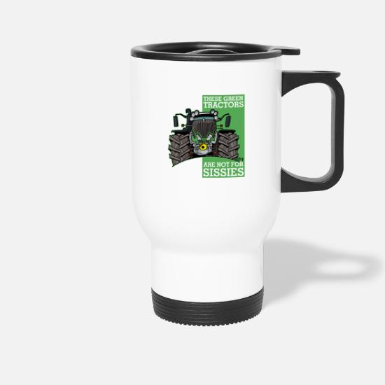 Green Mugs & Drinkware - these green tractors are not for missions2 - Travel Mug white