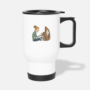Keyboard Piano Piano Pianist Sheet Music - Travel Mug