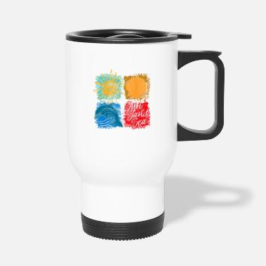 Square Squares (Sun, Sand, Sea) - Travel Mug