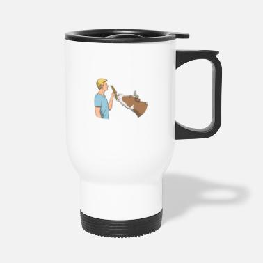 Dairy Cow Farmer feeds cow - Travel Mug
