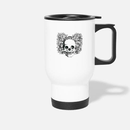Tattoo Mugs & Drinkware - Floral Gothic Skull - Travel Mug white