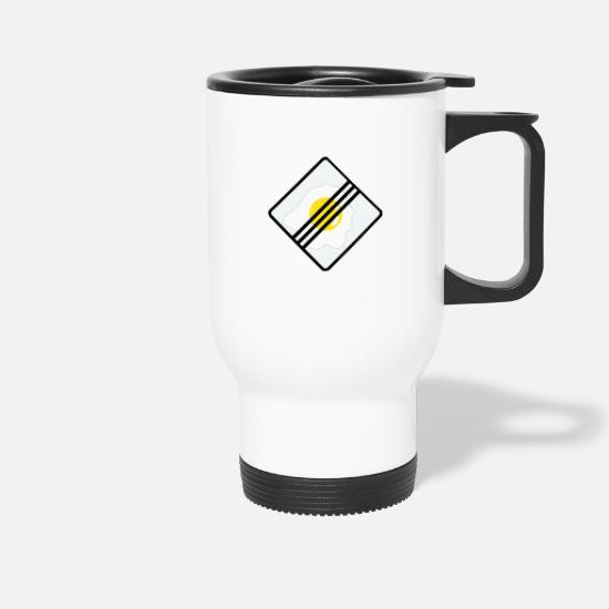 Fried Egg Mugs & Drinkware - Traffic sign design: egg. - Travel Mug white