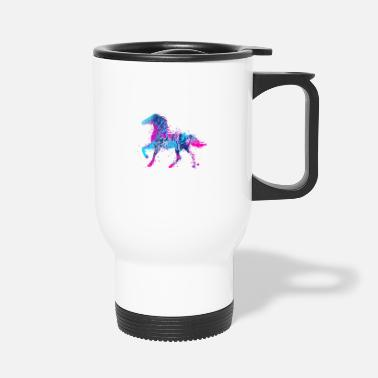 Pony Horse water color pink blue - Travel Mug