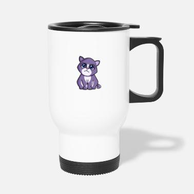 Cat purple blue - Travel Mug