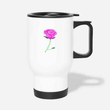 �❤️✦°Romantic Pink Rose-Timeless Rose Line Art - Travel Mug