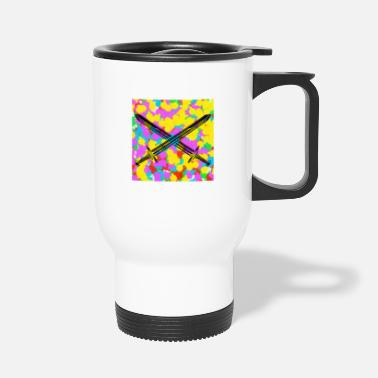 Funky Swords Pop Colour Tie Dye Background Funky Cool - Travel Mug