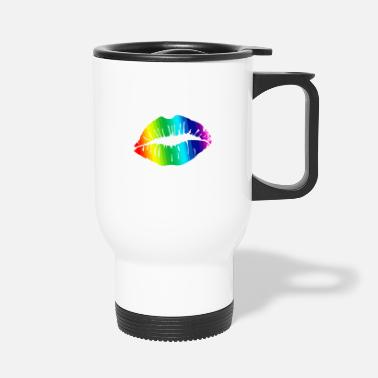 Daughter Rainbow lips kiss love gift idea - Travel Mug