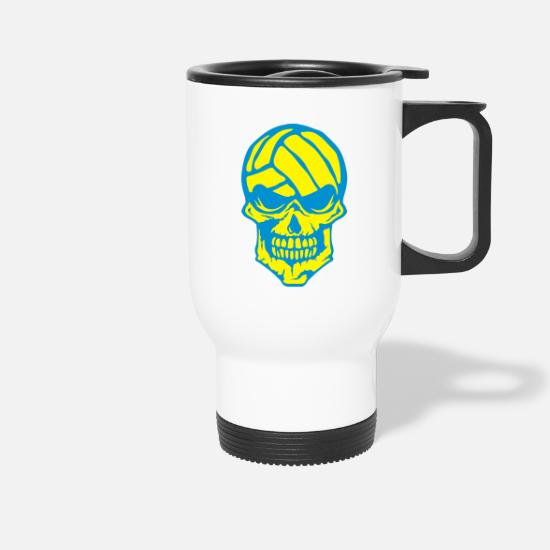 Waterpolo Mugs et récipients - volleyball tete de mort waterpolo logo - Mug isotherme blanc
