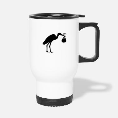 Toddler Stork with toddler and heart - Travel Mug
