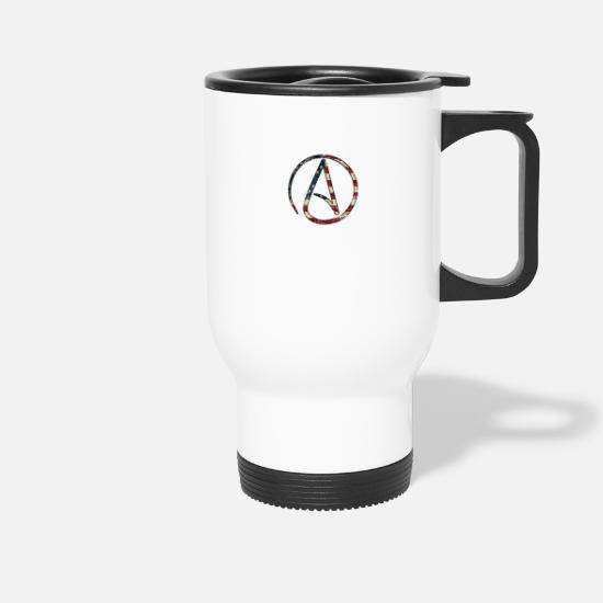 Symbol  Mugs & Drinkware - Atheism Logo Stars and Stripes USA - Travel Mug white