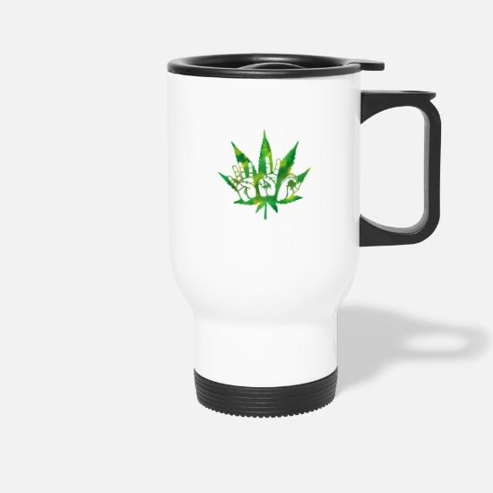 Spliff Mugs & Drinkware - Pothead T-Shirt 420 cannabis - Travel Mug white